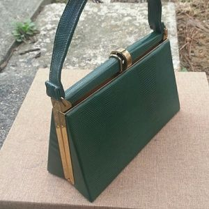 Vintage top handle green bag